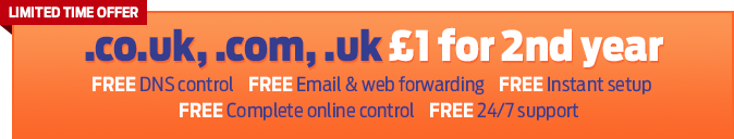 .co.uk, .com, .uk domain names £1.00 for 1st year